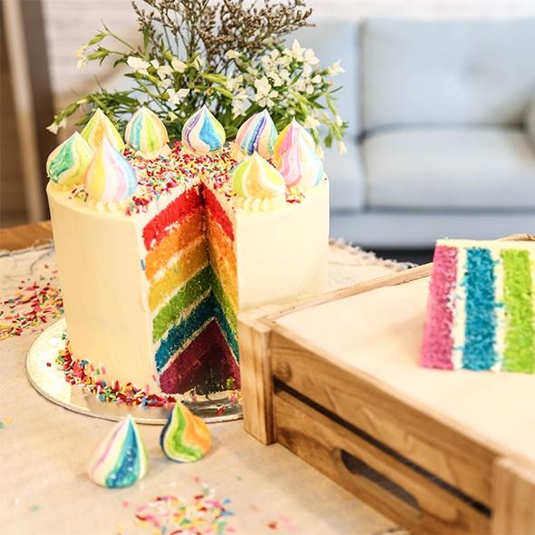 Learn to bake a rainbow cake