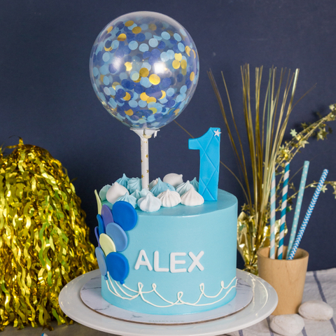 Blue Confetti Pastel Balloon